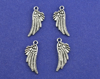 4pcs-Angel Bird Wing Charm, 18x10mm Double Sided Wing Pendant, Antiqued Silver Wing, Feather Charm