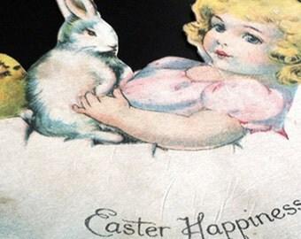 Vintage Easter Ephemera, Little Girl Cradled In Egg