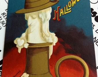 Antique Halloween Ellen Clapsaddle Postcard, Witchface Candlestick