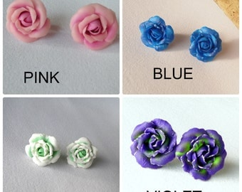 Rose stud earrings Rose pink Rose purple Rose white polymer clay jewelry gift for her romantic floral jewelry flower earrings floral studs