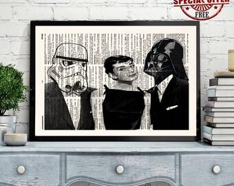 STAR WARS Audrey Hepburn, Darth Vader, Stormtrooper, Wall Art Print, Star Wars Poster, Darth Vader Poster, Dictionary Print,Office Decor,321
