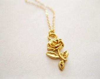 Gold Rose necklace, flower necklace, delicate rose necklace, dainty rose flower necklace,  pretty flower necklace , minimalist necklace