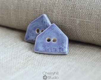 Purple House Buttons, Ceramic Buttons, Ceramic House Buttons, Sew on Buttons