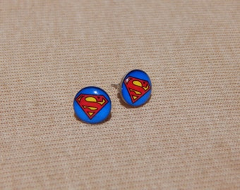 Superman Earrings, Superman Stud Earrings, Superhero Stud Earrings, Glass Dome Earrings, DC Comics, Video Game Jewelry, Geekery, Superman