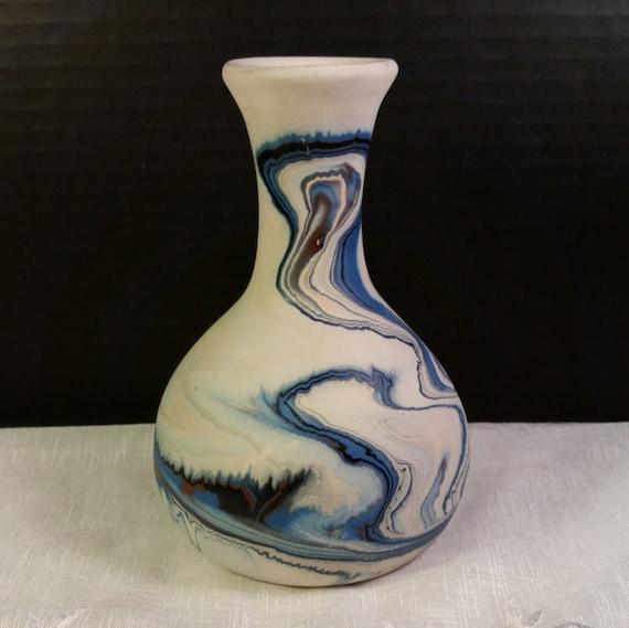 Nemadji Pottery Blue Brown Swirled Vase Vintage Nemadji Usa