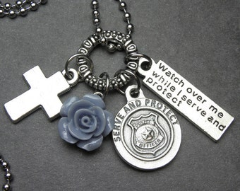 Police Officers Watch Over Me St. Michael Catholic Holy Medal & Blue Rose Necklace, Peace Officers, Policewoman