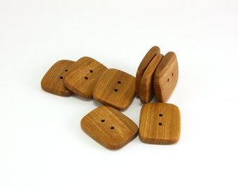 Rectangle buttons - Applewood 26mm (1.02in) - Set of 8 natural handmade buttons. A0372