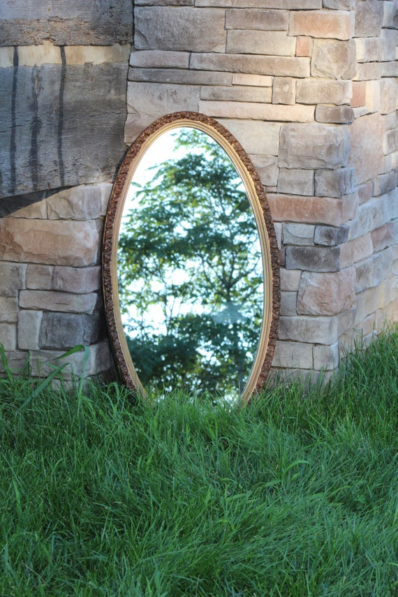Vintage Oval Mirror Rustic Home Decor Ornate Mirror Gold