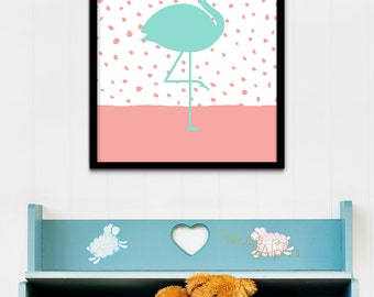 Coral and Mint Nursery Wall Art, Mint and Coral Nursery Prints, Mint Coral Flamingo Print, Mint & Coral 8x10 Print, Coral and Mint 4x6 Print