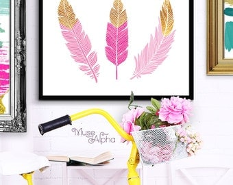 Three Feathers Wall Art Print, Printable Feather Art, Gold and Pink Southwestern Print, Pink Feather Wall Downloadable Feather Art Printable