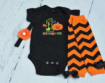 My First Halloween Outfit - Bodysuit with optional bow, leg warmers, and tutu - Baby's 1st Halloween - Pumpkin Bodysuit