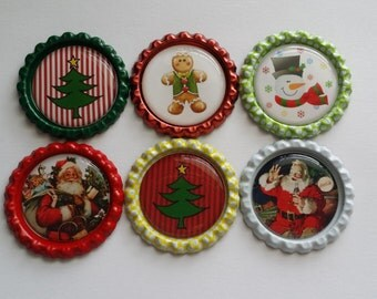 Set of 6 Christmas Santa Snowman Finished Bottle Caps