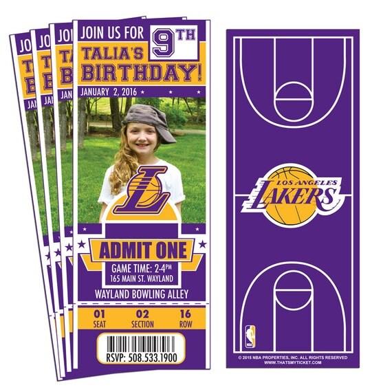 12 Los Angeles Lakers Custom Birthday Party Ticket Invitations