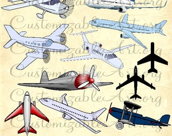 Plane Clipart Digital Airplane Aircraft Clip Art Flying Fly Airline Plane Jet Airplane Silhouette Printable Flight Clipart Images Graphics