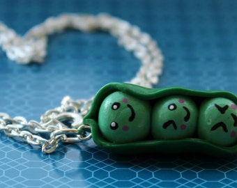 Kawaii Three Peas in a Pod Necklace *Free Shipping*