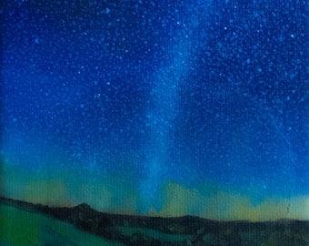 Original Oil Landscape Painting, Evening, Mountains, Stars