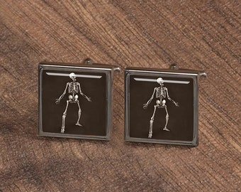 Cufflinks, skeleton cufflinks, Human Bone Cufflinks,Groomsmen Cufflinks,Vintage Cuff links, Gifts for men, square cufflinks, father cufflink