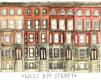 West 89th Street New York City Illustration Art Print