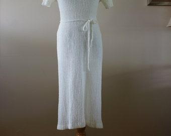 Spanner Imports Vintage White Short Sleeve Lightweight Knit Spring Summer Dress Size Large M-595