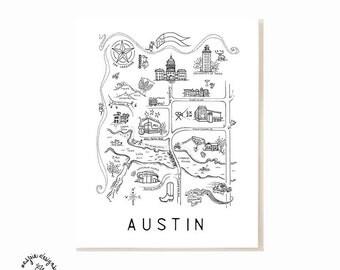 Austin City Map Art Print - Black & White