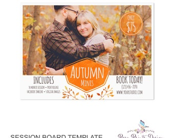 Fall Session Marketing Board - Template for Photographers - Autumn Photoshop Template - 5x7 Photography Design - AMB01