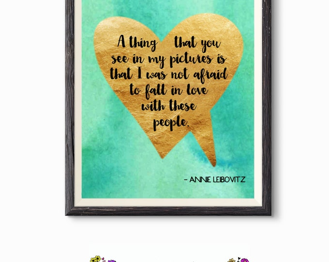 Printable Quote - Word Art - Wall Decor - Gold Foil Heart Not Afraid To Fall In Love - Inspirational Quote- Photographer Gift - Printable