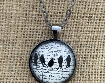 Birds on a Branch With Script Writing Background - Glass Pendant Necklace with Chain- Easter Gift, Mother's Day Gift, Friend Gift