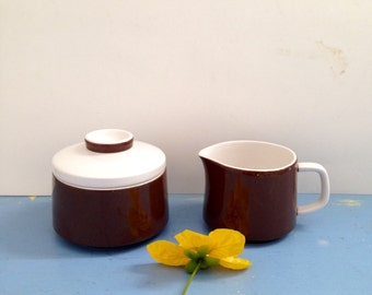 Vintage Ceramic Cream and Sugar Set / Premiere Colorama Pattern Serving Dishes / Brown White Creamer & Sugar Bowl / Vintage Made in Japan