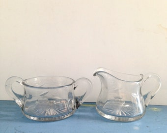 Vintage Cream and Sugar Set / Glass Creamer and Sugar Bowl w Starburst Bottom / Etched Flowers Clear Glass Coffee Servers / Tea Server Set