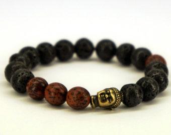 Men's Buddha Bracelet, Lava Rock, Lava Stone, Healing Bracelet, Energy Bracelet, Spiritual Bracelet, Buddha Charm, Mala Bracelet, Wood Beads