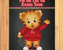 Pin the Tail on Daniel Tiger Chalkboard Party Game * Daniel Tiger Printable * Daniel Tiger Pin the Tail Game * Daniel Tiger Party Favors