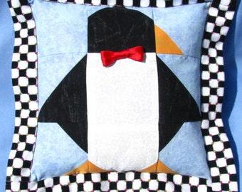 SUMMER SALE! Patchwork Penguin Pillow