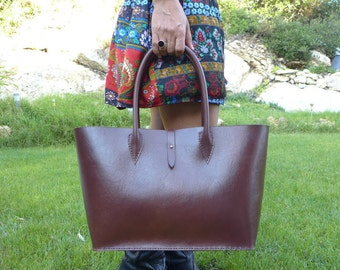 Free Shipping Large leather Tote Bag Brown - Leather Handbag - WomenLeather Bag - Leather Shopper Bag - Leather Shoulder Bag