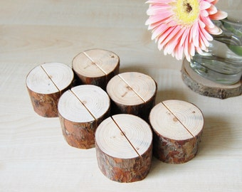 Table Number Holders - Rustic Name Card Holders - Pine Branch Table Number Holders - Woodland Wedding Eco Friendly Decor Sets of 6-12