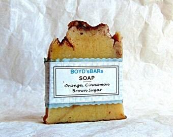 Orange Cinnamon Brown Sugar Soap - All Natural Soap, Vegan Soap, Handmade Soap, Cinnamon Soap, Body Soap, Cold Process Soap