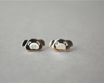 Pig 925 sterling silver stud earring, super cute pair, to show your love for your pet(D289)