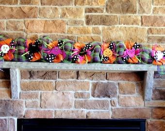 halloween garland deco mesh 3 6 or 9 halloween garland halloween door - Deco Mesh Halloween Garland