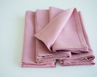 Pink napkins - Linen napkins - Home gifts - Kitchen decor - Christmas gifts