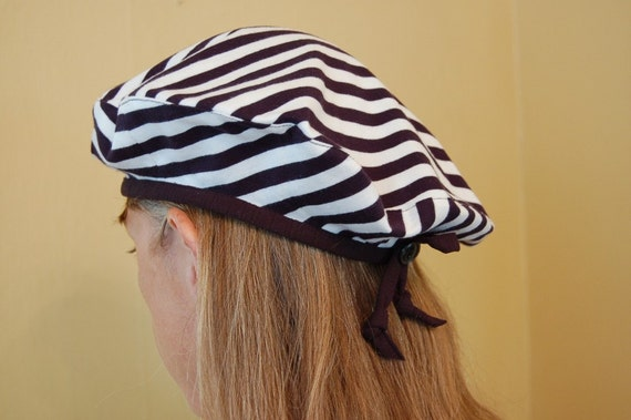 Funky retro striped beret black white plaid cotton for French striped shirt and beret