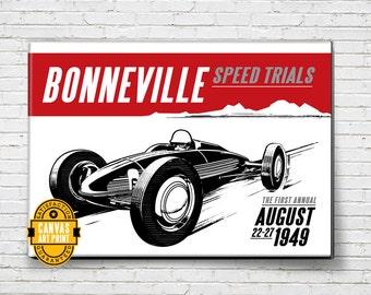 Car Art - Bonneville Salt Flats - Canvas Art Print, Auto Art, vintage advertising poster, Automobile Art, Man Cave Art, Car Gift, Garage Art