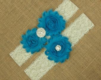 Blue Bridal Garter, Wedding Garter Set, Blue Garter, Something Blue, Toss Garter, Keepsake Garter, Lace Garter Set, Wedding Garter, SCIS-B03