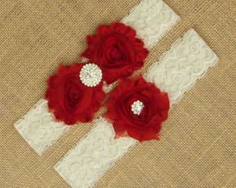 Wedding Garter, Bridal Garter Set, Lace Wedding Garter, Red Wedding Garter, Bridal Garter Set, Lace Garter, Toss Garter, Red Garter SCIS-R04