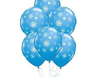 Light Blue Snowflake Balloons
