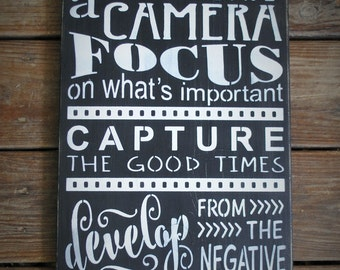 Life Is Like A Camera...distressed rustic shabby chic urban farmhouse photography wooden word art
