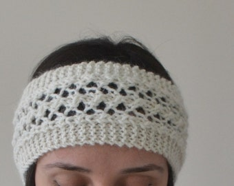 Pure Alpaca Hand Knit Creamy White Lace Headband, 100% Alpaca Headband, Wool Headband, Hair Accessories, Ear Warmer, Head Warmer