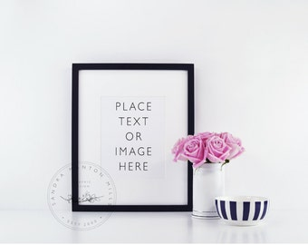 Styled Stock Photo   Picture Frame with Black and White Desk Accessories and Pink Roses 2  Styled Photography