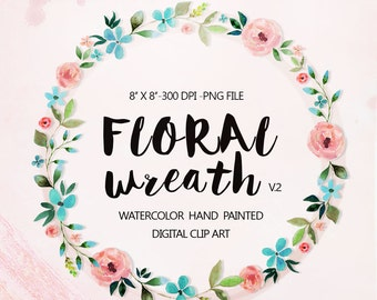 Watercolor Wreath clipart, Wedding floral Clip art, Flowers Wreath Clipart, wedding flowers clip art, Watercolour Hand Painted Clip Art