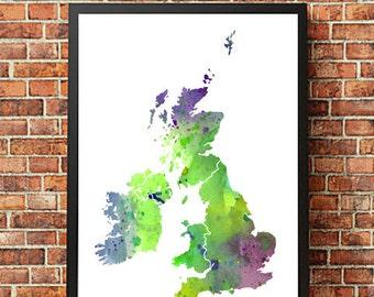 UK United Kingdom No. 3 Print Watercolor Map, Home Decor Watercolor UK Poster, Watercolor UK Painting, Handmade Poster Map Art, Map Poster