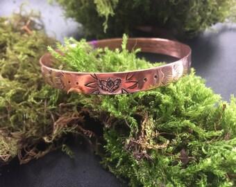 Boho style copper bracelet with lotus, copper bangle