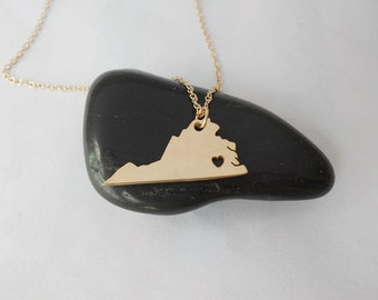 Gold Virginia Charm Necklace,VA State Necklace,Virginia State Shaped Pendant,Virginia State Heart Pendant